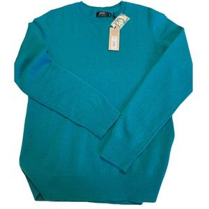 Apt 9 100% Cashmere Teal Crewneck Sweater Size Large